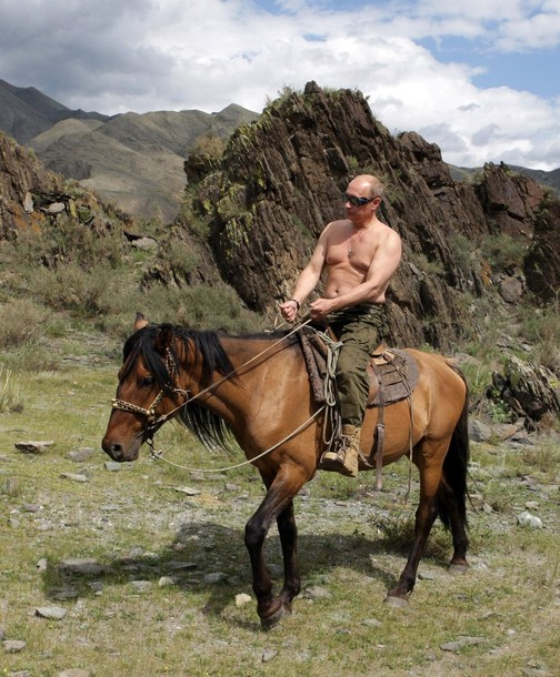 Russia's Prime Minister Vladimir Putin rides a horse in southern Siberia's Tuva region August 3, 2009. Putin, a judo black belt who has flown in a fighter aircraft and shot a Siberian tiger in the wild, plunged into the depths of Lake Baikal aboard a mini-submersible on Saturday in a mission that added a new dimension to his macho image. Picture taken August 3, 2009.